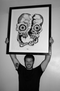 John Beckmann with Cleaved Skull Woodcut
