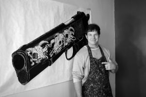 Printing Gun in Scorpion Apron made by Mother