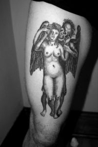 Death with Standing Nude Tattoo